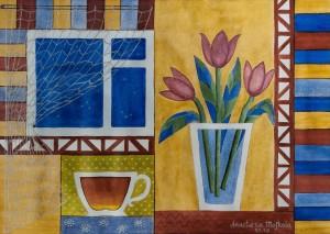 A. Moshkola 'Tulips', 2016, watercolour on paper, 30x40