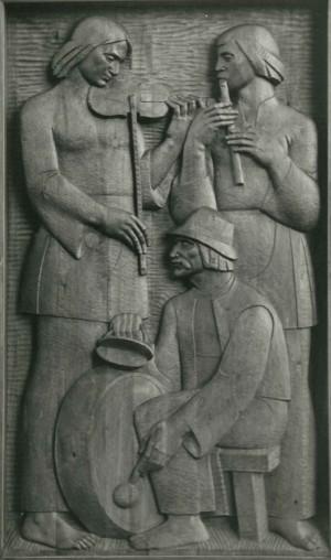 Із серії  Життя і побут закарпатців, Музики, 1981, дерево, 60х110