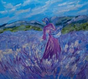 'Blooming Lavender', 2018, 100x90