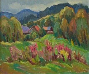 O. Kosar 'Autumn In Uzhok Village', oil on canvas, 60x70