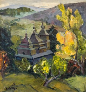 Autmun Scenery With the Church, the second half of 1930s, oil on canvas