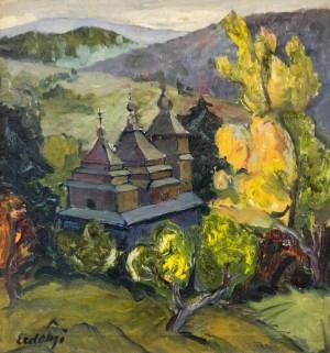Осінній краєвид з церквою, друга пол. 1930-тих, п.о