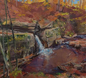 "F. Erfan ""Waterfall In Lumshory Village"", 2017, oil on canvas, 110x120"