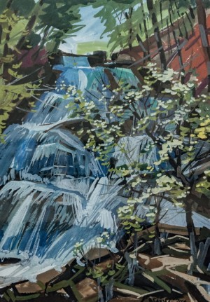 On The Shypot Waterfall Water Plays, 2016, acrylic on cardboard, gouache, 70,5x51,5