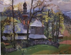 Кашшай А.  Церква в Гукливому, 1956, п.о., 80х100