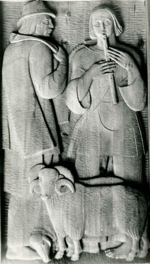 Із серії  Життя і побут закарпатців, Пастухи, 1981, дерево, 60х110