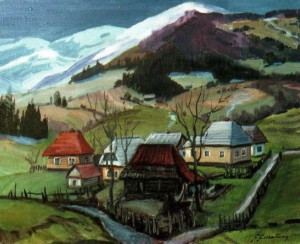 Край села Подобовець, 1981, 50х60
