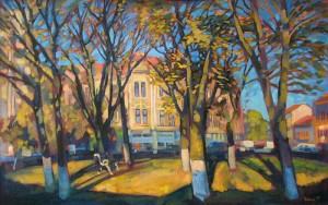 Sandor Petefi Square, 2005, oil on canvas, 80x120