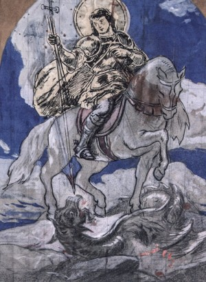 St. George the Winner, 1930s, paper, indian ink, coal, watercolour, 49х37,5
