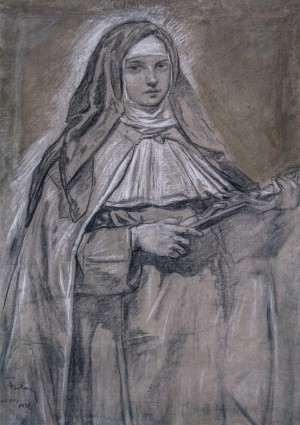 St. Teresa, 1937, coal, pastel on paper, 88x60
