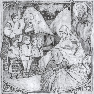 Holy Family, 1930s, ink on paper, 26х27