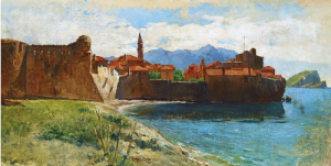 The City In Istria, canvas on cardboard, oil, 34,5х62,5