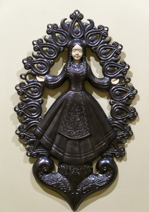 Judit Józsa Fairy Ilona glazed ceramics, relief 57х36х3
