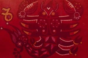 Знаки зодіака, декорат. композиція_11, 1974, карт., темпера, 53х36