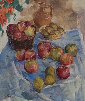 "F. Erfan ""Still Life With Apples"", 2017, oil on canvas, 70x60"