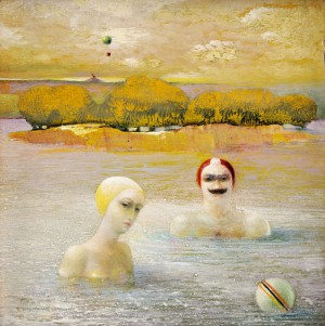Swimmers, 1980, oil on wood, 20x20