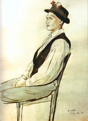 Хлопець з Широкого Лугу, 1936, пап.акв., 45,2х31,4