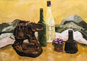 V. Kosto 'Still Life With An Elephant Figurine'