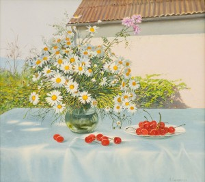 A. Landovska Bouquet Of Wildflowers And Cherries'