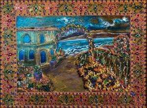 Lost Paradise, 2015, glass, paint on glass, authors technique