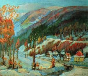 Край села Уклин взимку, 2002, 70х80