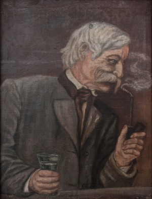S. Silvai Portrait Of Grandfather With A Pipe And A Glass', oil on canvas