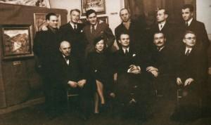 Z. Sholtes, A. Kotska. S. Petki are standing, Y. Bokshai, M. Manailo, A. Erdeli, F. Manailo, M. Rosenberg are sitting, the 1930s.