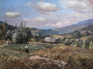 Stavne Village, 1957, oil on canvas, 65х83