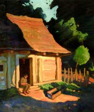Summer End. The Yard Of A Poor Man, 2001, oil on cardboard, 60х70