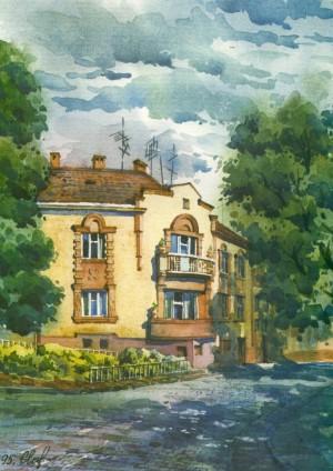 House in Hohol Street,1 1995 watercolour