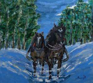 'Horses', 2018, 100x90