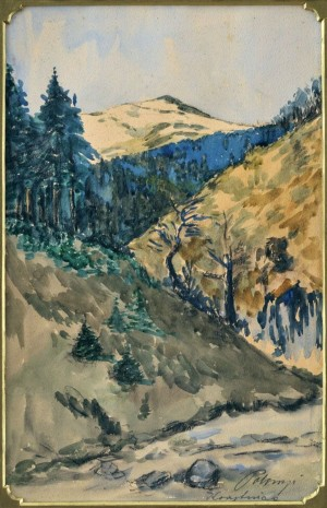 'Korytnytsia Village', 1935, watercolour on paper, 40x25.jpg