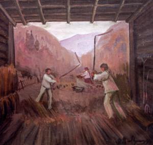 Молотьба ціпами, 1978, п.о., 50х60