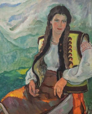 Portrait of Hutsul Girl, 1946, oil on canvas