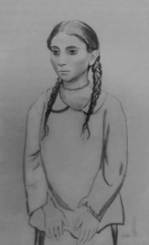 Циганська дівчина з косами, с.Богдан, 1936, пап.,соус, 50,6х32,7