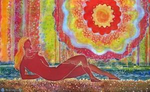 Сонячні зайчики, 2012, холодний батик, розпис акр., 50х80