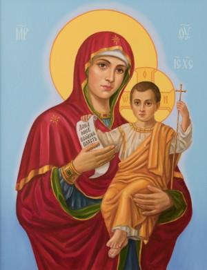 Mother of God with Jesus, 2016, oil on canvas, 90x70