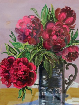 V. Trehubova Pink Peonies', 1978, guache on paper