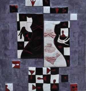 Чорно-біла гра червоними, мельхіор, гаряча емаль, 62х68