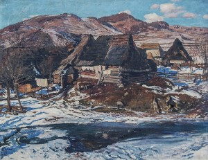 Uzhok Village, 1936, oil on canvas, 90x100.5