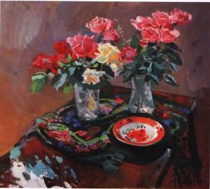 Троянди з квітчастою хустиною, 1976, п.о. 90х100
