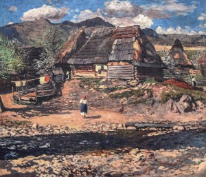 Uzhok Village, 1937, oil on canvas, 90x100.5