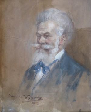 Portrait of Mihály Munkácsy, 1909, paper, gouache, 36x27