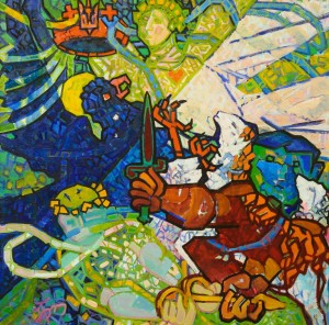 "I. Brovdi ""Fighting for the crown"", 2009, oil on canvas"