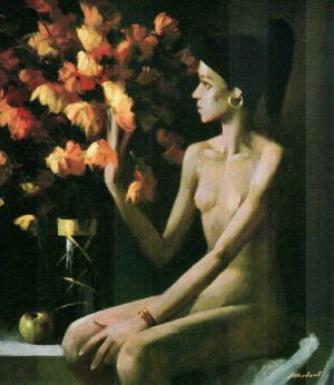 Model Near Yellow Flowers, 2009, 90x80