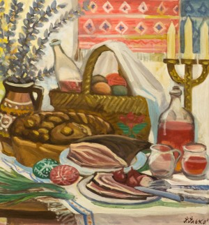 I. Ilko. Easter Dinner, 1965, tempera on cardboard, 57x61