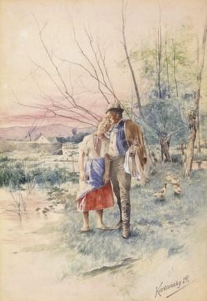 Закохані біля водоймища, пап.зміш.техн., 24,5х17