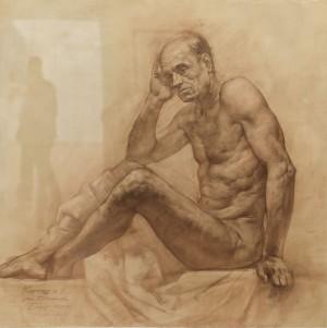 Карташов А. Натурник сидячий, 110х110, п. сепія  2005