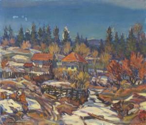 Контратович Е. Останній сніг, 1979, п.о. 60х70 (Знаходиться в приватній колекції Дениса Копилова)