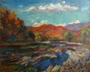 The Uzh River In Kostryno Village, 2010, oil on cardboard, 40х50